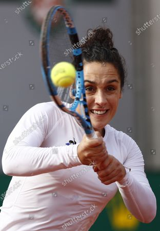 Martina Trevisan of Italy hits a backhand during her fourth round match against Kiki Bertens of the Netherlands during the French Open tennis tournament at Roland Garros in Paris, France, 04 October 2020.