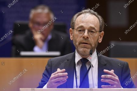 Stock Image of Discussion of the newly formed Belgian government declaration. vote of confidence for the Belgian government. Peter De Roover