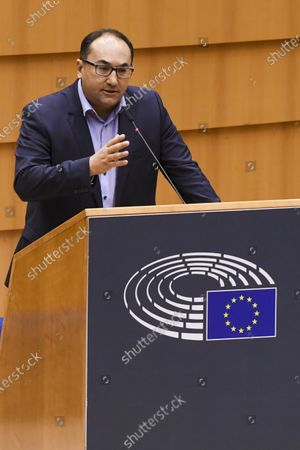 Stock Image of Discussion of the newly formed Belgian government declaration. vote of confidence for the Belgian government. Laaouej Ahmed