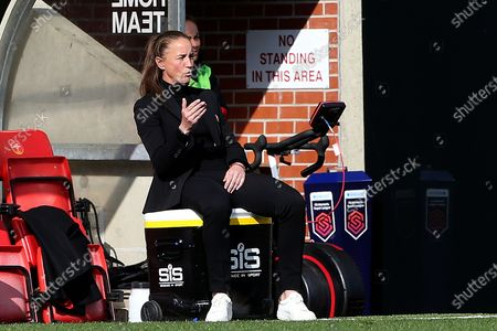 Manchester United Women Manager Casey Stoney gestures during the FA Women's Super League match between Manchester United Women and Brighton and Hove Albion Women at Leigh Sports Village, Leigh
