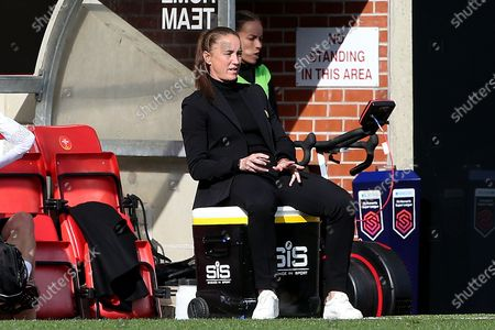 Manchester United Women Manager Casey Stoney during the FA Women's Super League match between Manchester United Women and Brighton and Hove Albion Women at Leigh Sports Village, Leigh