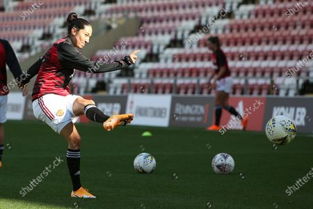 Manchester United forward Christen Press (24) warming up during the FA Women's Super League match between Manchester United Women and Brighton and Hove Albion Women at Leigh Sports Village, Leigh