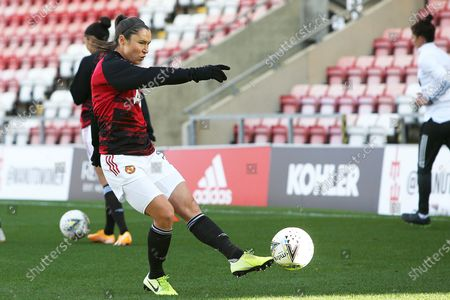 Manchester United forward Jane Ross (19) warming up during the FA Women's Super League match between Manchester United Women and Brighton and Hove Albion Women at Leigh Sports Village, Leigh