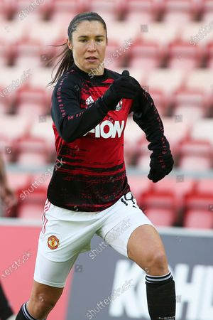 Stock Picture of Manchester United forward Jane Ross (19) warming up during the FA Women's Super League match between Manchester United Women and Brighton and Hove Albion Women at Leigh Sports Village, Leigh