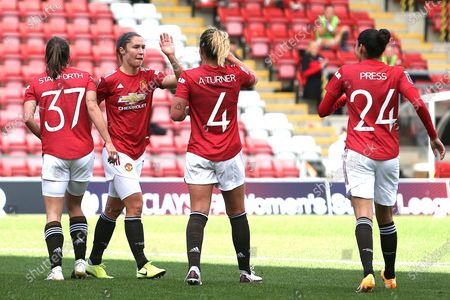 Goal 3-0  Manchester United forward Jane Ross (19) scores a goal 3-0 and celebrates  during the FA Women's Super League match between Manchester United Women and Brighton and Hove Albion Women at Leigh Sports Village, Leigh