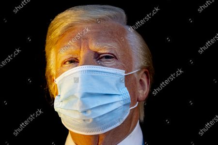 The wax figure of US President Donald Trump has also been 'quarantined' at Madame Tussauds. The statue has a face mask in front of the window of Tussauds on the Dam. Trump and his wife Melania have tested positive for with the coronavirus and have gone into self-isolation at the White House.