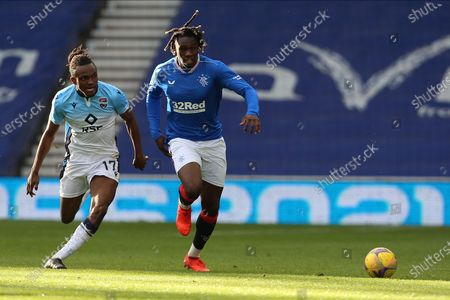 Regan Charles-Cook tackles Calvin Bassey (Rangers) during the Scottish Premiership match between Rangers and Ross County at Ibrox, Glasgow