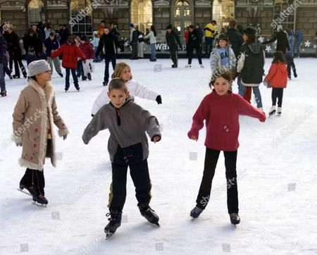 Ice Skating At Somerset House Ice Rink London. Charlie And Natalie Jennings