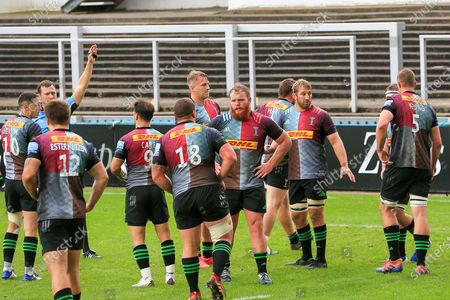 Stock Image of Chris Robshaw of Harlequins (6) gestures  during the Gallagher Premiership Rugby match between Leicester Tigers and Harlequins at Welford Road Stadium, Leicester