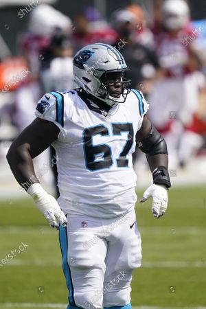 Carolina Panthers offensive guard John Miller plays against the Arizona Cardinals during the first half of an NFL football game, in Charlotte, N.C