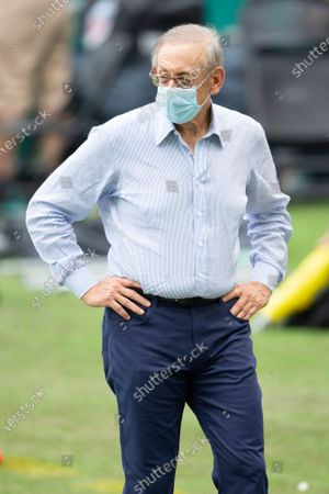 Miami Dolphins owner Stephen Ross on the field after Seattle Seahawks defeated the Miami Dolphins during an NFL football game, in Miami Gardens, Fla