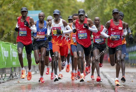 Eliud Kipchoge (3rd L, Front) of Kenya competes in the Elite Men's Race at the London Marathon 2020 in central London, Britain, on Oct. 4, 2020.