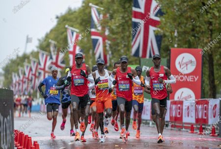 Eliud Kipchoge (2nd L, Front) of Kenya competes in the Elite Men's Race at the London Marathon 2020 in central London, Britain, on Oct. 4, 2020.