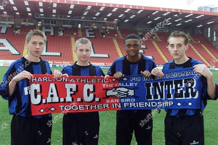 Charlton Athletic Fc Youth Players: L-r Stacy Long 15 Chris Nunn 15 Osei Sankofa 14 And Alex Varney 15 Who Will Travel To Milan And Train At The Internazionale Academy For A Week As Part Of The Agreement Between Inter Milan And The South London Club