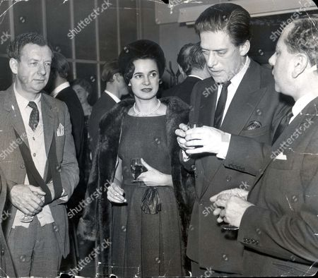 Reception At Television House For The New Opera The Turn Of The Screw By Benjamin Britten. (l-r) Benjamin Britten Countess Of Harewood Earl Of Harewood John Macmillan.