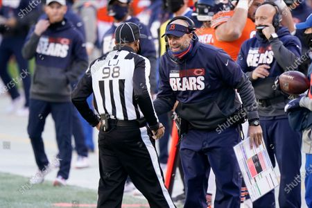 Chicago Bears head coach Matt Nagy talks Greg Bradley (98) during the first half of an NFL football game against the Indianapolis Colts, in Chicago