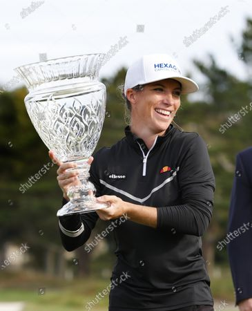 Mel Reid, of England, celebrates after winning the Shoprite LPGA Classic golf tournament, in Galloway, N.J