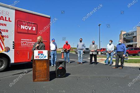 Editorial image of Keep Kansas Great Bus Tour kick off, El Dorado, Kansas, USA - 03 Oct 2020
