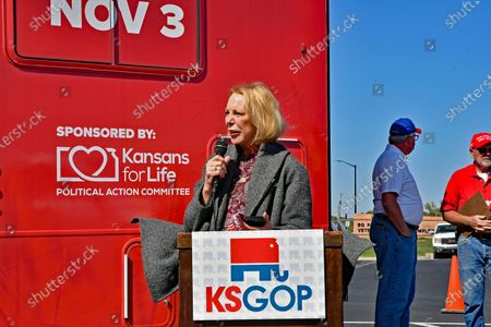 """Mary Jean Eisenhower, grand daughter of President Dwight Eisenhower at the kick off the """"Keep Kansas Great Bus Tour"""" in  El Dorado"""