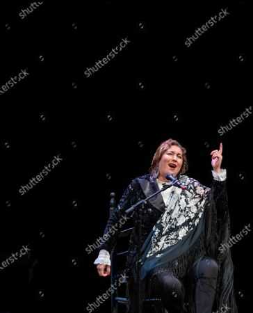 Spanish Flamenco singer Estrella Morente performs, accompanied by guitarist Rafael Riqueni (unseen), during the closing of the Flamenco Biennial in Seville, Spain, 04 October 2020.
