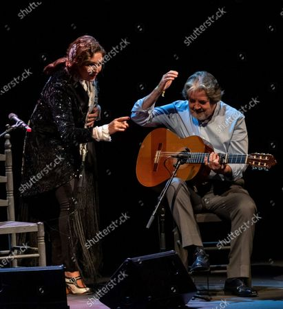 Spanish Flamenco singer Estrella Morente (L) performs, accompanied by guitarist Rafael Riqueni (R), during the closing of the Flamenco Biennial in Seville, Spain, 04 October 2020.