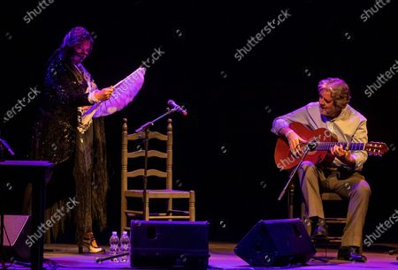Stock Picture of Spanish Flamenco singer Estrella Morente (L) performs, accompanied by guitarist Rafael Riqueni (R), during the closing of the Flamenco Biennial in Seville, Spain, 04 October 2020.