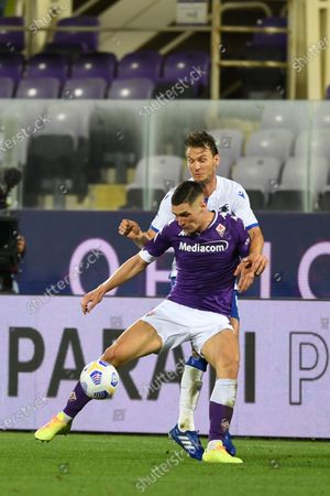 "Nikola Milenkovic (Fiorentina)Albin Ekdal           during the Italian  Serie A"" match between Fiorentina 1-2 Sampdoria  at  Artemio Franchi Stadium   on October 02 , 2020 in Florence, Italy."