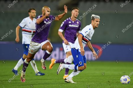 "Stock Photo of Valerio Verre (Sampdoria)Sofyan Amrabat (Fiorentina)           during the Italian  Serie A"" match between Fiorentina 1-2 Sampdoria  at  Artemio Franchi Stadium   on October 02 , 2020 in Florence, Italy."