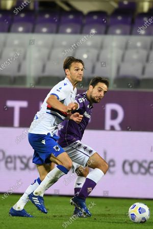 "Giacomo Bonaventura (Fiorentina)Albin Ekdal           during the Italian  Serie A"" match between Fiorentina 1-2 Sampdoria  at  Artemio Franchi Stadium   on October 02 , 2020 in Florence, Italy."