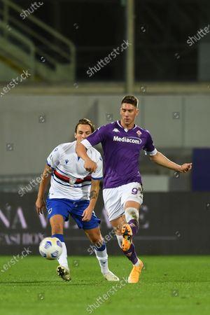 "Dusan Vlahovic (Fiorentina)Albin Ekdal           during the Italian  Serie A"" match between Fiorentina 1-2 Sampdoria  at  Artemio Franchi Stadium   on October 02 , 2020 in Florence, Italy."