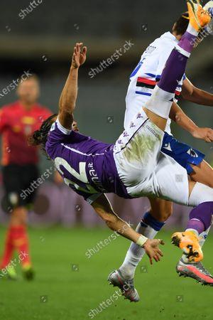 "Jose Martin Caceres Silva (Fiorentina)Gaston Exequiel Ramirez Pereyra (Sampdoria)           during the Italian  Serie A"" match between Fiorentina 1-2 Sampdoria  at  Artemio Franchi Stadium   on October 02 , 2020 in Florence, Italy."