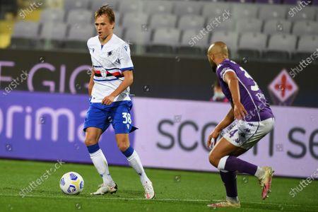"Mikkel Damsgaard (Sampdoria)Sofyan Amrabat (Fiorentina)           during the Italian  Serie A"" match between Fiorentina 1-2 Sampdoria  at  Artemio Franchi Stadium   on October 02 , 2020 in Florence, Italy."