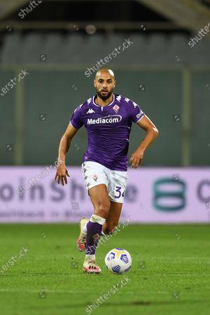 "Sofyan Amrabat (Fiorentina)           during the Italian  Serie A"" match between Fiorentina 1-2 Sampdoria  at  Artemio Franchi Stadium   on October 02 , 2020 in Florence, Italy."