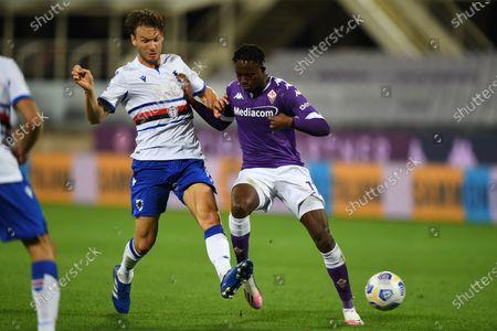 "Christian Kouame (Fiorentina)Albin Ekdal           during the Italian  Serie A"" match between Fiorentina 1-2 Sampdoria  at  Artemio Franchi Stadium   on October 02 , 2020 in Florence, Italy."