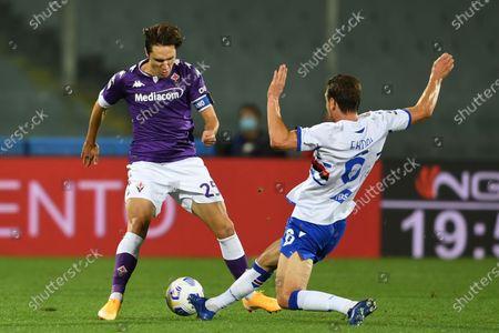 "Federico Chiesa (Fiorentina)Albin Ekdal           during the Italian  Serie A"" match between Fiorentina 1-2 Sampdoria  at  Artemio Franchi Stadium   on October 02 , 2020 in Florence, Italy."