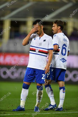 "Maya Yoshida (Sampdoria)Albin Ekdal(Sampdoria)           during the Italian  Serie A"" match between Fiorentina 1-2 Sampdoria  at  Artemio Franchi Stadium   on October 02 , 2020 in Florence, Italy."
