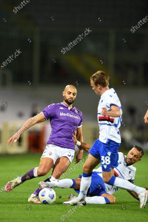 "Sofyan Amrabat (Fiorentina)Fabio Quagliarella (Sampdoria)Mikkel Damsgaard (Sampdoria)           during the Italian  Serie A"" match between Fiorentina 1-2 Sampdoria  at  Artemio Franchi Stadium   on October 02 , 2020 in Florence, Italy."