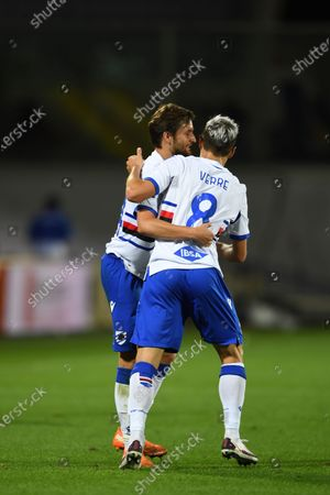"Stock Picture of Valerio Verre (Sampdoria)Bartosz Bereszynski (Sampdoria)          celebrates after scoring his team's second goalduring the Italian  Serie A"" match between Fiorentina 1-2 Sampdoria  at  Artemio Franchi Stadium   on October 02 , 2020 in Florence, Italy."