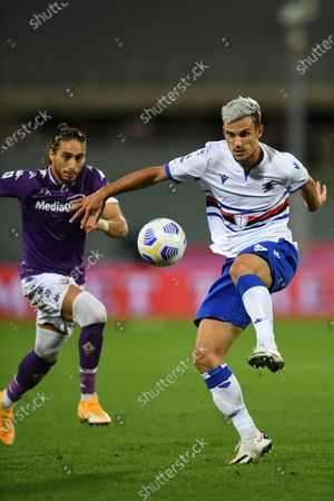 "Valerio Verre (Sampdoria)Jose Martin Caceres Silva (Fiorentina)           during the Italian  Serie A"" match between Fiorentina 1-2 Sampdoria  at  Artemio Franchi Stadium   on October 02 , 2020 in Florence, Italy."