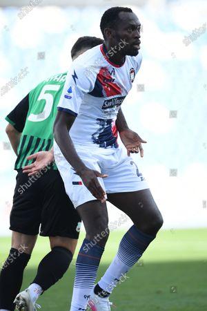"Simy Simeon Tochukwu Nwankwo (Crotone)Kaan Ayhan (Sassuolo)          during the Italian  Serie A"" match between Sassuolo 4-1 Crotone  at  Mapei Stadium   on October 02 , 2020 in Reggio Emilia, Italy."