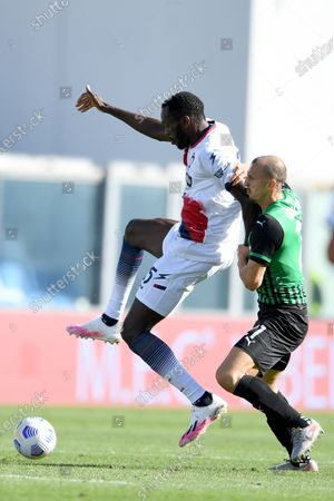 "Simy Simeon Tochukwu Nwankwo (Crotone)Vlad Chiriches (Sassuolo)          during the Italian  Serie A"" match between Sassuolo 4-1 Crotone  at  Mapei Stadium   on October 02 , 2020 in Reggio Emilia, Italy."