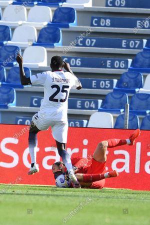 "Simy Simeon Tochukwu Nwankwo (Crotone)Andrea Consigli (Sassuolo)          during the Italian  Serie A"" match between Sassuolo 4-1 Crotone  at  Mapei Stadium   on October 02 , 2020 in Reggio Emilia, Italy."