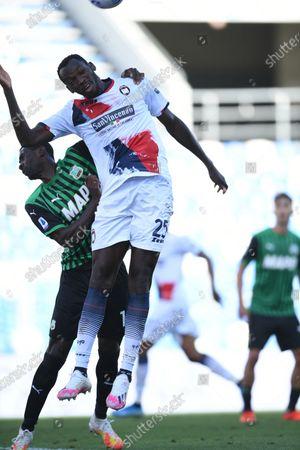 "Simy Simeon Tochukwu Nwankwo (Crotone)Pedro Obiang (Sassuolo)          during the Italian  Serie A"" match between Sassuolo 4-1 Crotone  at  Mapei Stadium   on October 02 , 2020 in Reggio Emilia, Italy."