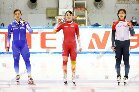 (L-R)  Shione Kaminaga,  Sumire Kikuchi,  Ami Hirai - Short Track Skating :  The 31st All Japan Single Distances Short Track Speed Skating Championships  Women's 500m Award Ceremony  at Teisan ice skating training center in Nagano, Japan.