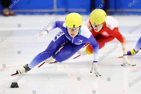 (L-R)  Yuki Kikuchi,  Sumire Kikuchi - Short Track Skating :  The 31st All Japan Single Distances Short Track Speed Skating Championships  Women's 1000m A final  at Teisan ice skating training center in Nagano, Japan.