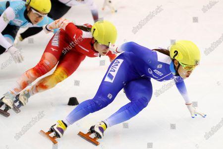 Stock Photo of (L-R)  Sumire Kikuchi,  Shione Kaminaga - Short Track Skating :  The 31st All Japan Single Distances Short Track Speed Skating Championships  Women's 1000m semi-final  at Teisan ice skating training center in Nagano, Japan.