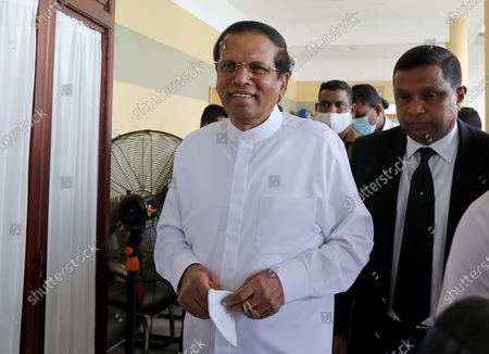 Stock Picture of Former Sri Lankan President Maithripala Sirisena (L) arrives to record a statement regarding the 2019 Easter Sunday terrorist bombing, at the Investigation Unit of the Presidential Commission of Inquiry in Colombo, Sri Lanka, 05 October 2020. A series of bomb attacks were carried out on Easter Sunday, 21 April 2019, in Sri Lanka, killing nearly 300 people and injuring hundreds of others. Later investigations revealed the involvement of an Islamic terror group claiming to be affiliated with the so-called Islamic State (or IS or ISIS).