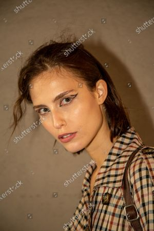 Italy, model leaves the location after showing the Francesca Liberatore brand during the Milan Fashion Week 20/21