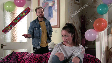 Coronation Street - Ep 10142 Wednesday 14th October 2020 - 2nd Ep Having invited a load of random guests she met at the cafe, Shona Platt, as played by Julia Goulding, is confused as David Platt, as played by Jack P Shepherd, tells everyone the party is cancelled.