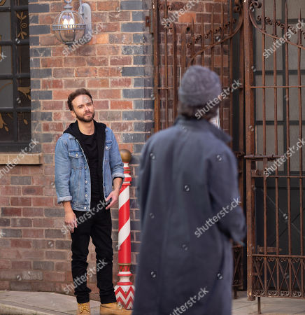 Coronation Street - Ep 10147 Wednesday 21st October 2020 - 1st Ep David Platt, as played by Jack P Shepherd, finds Hugo, as played by Declan O'Connor, taking pictures of the barber's, threatening to put him out of business.